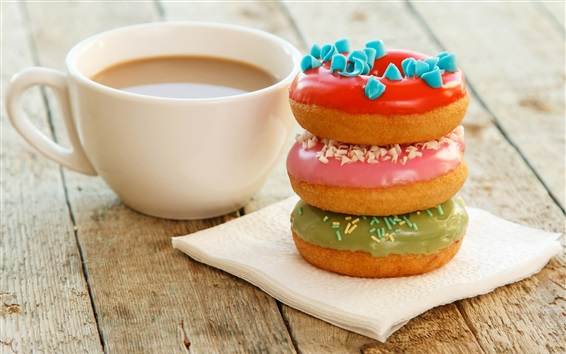 桌布 咖啡和甜甜圈