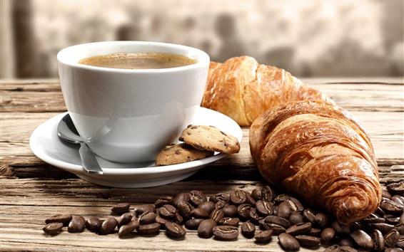 Обои Кофе в зернах, кофе, чашка, круассаны