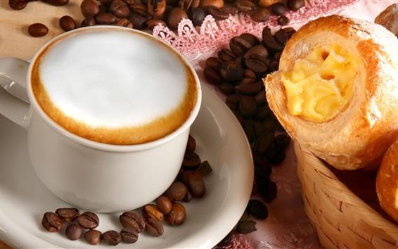 Fond d'écran Café, tasse, grains de café, pain