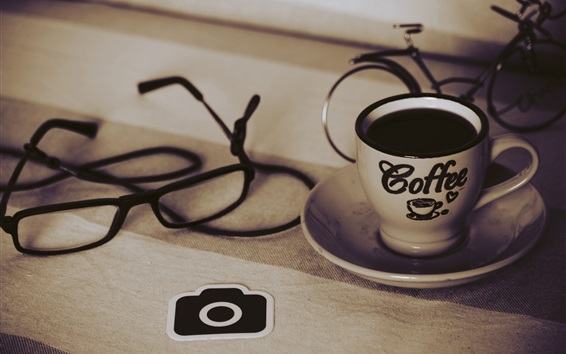 Wallpaper Coffee, cup, glasses