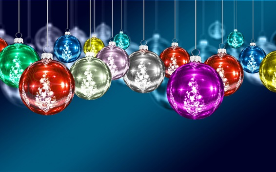 Wallpaper Colorful Christmas balls, decoration, blue background