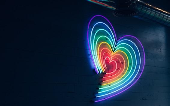 壁紙 カラフルなネオン愛の心、夜