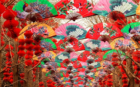 Wallpaper Colorful paper fan, Spring festival, Beijing, China