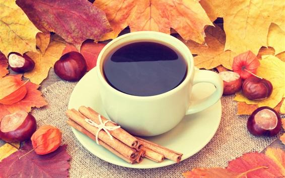 Fond d'écran Coupe, café, feuilles, glands, cannelle, automne