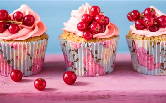 Wallpaper Cupcakes, red currants, cream