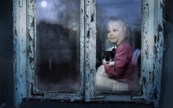 Papéis de Parede Cute criança garota e gatinho, olha para fora da janela