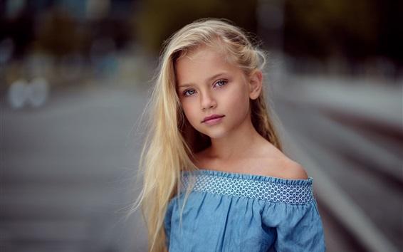 Fond d'écran Fille enfant mignon, blonde, jupe bleue