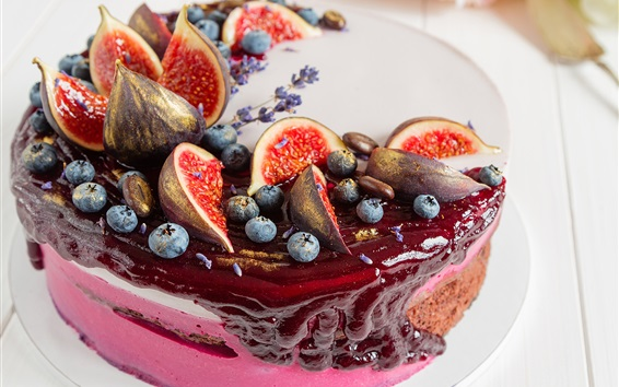 Fond d'écran Gâteau délicieux, figues, myrtilles
