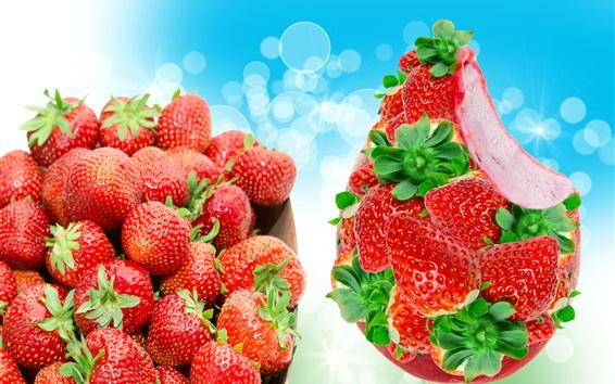 Wallpaper Delicious strawberry, ice cream, blue background