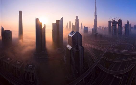 Fond d'écran Dubaï, Émirats Arabes Unis, matin de la ville, gratte-ciels, brouillard, routes