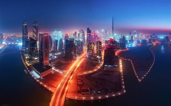 Fond d'écran Dubaï, EAU, nuit de la ville, gratte-ciels, routes, illumination