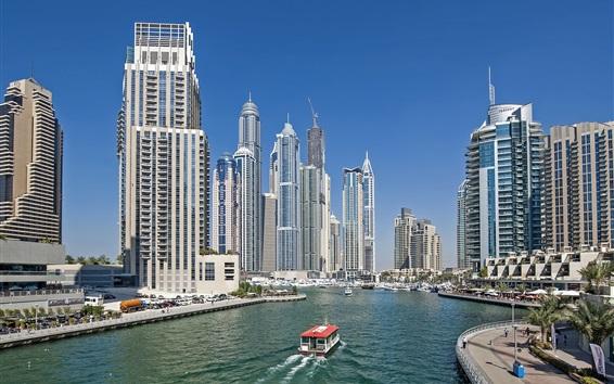Обои Дубай, ОАЭ, небоскребы, река