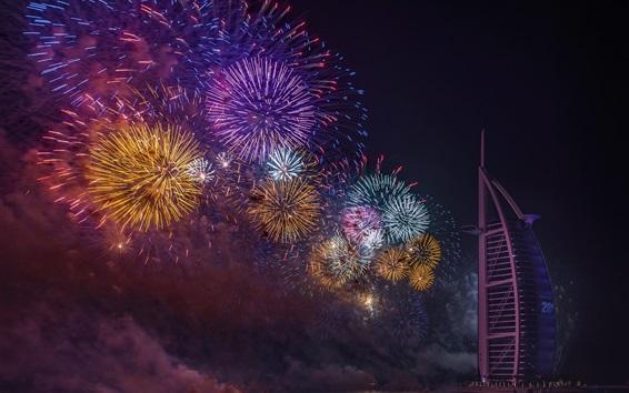 Fond d'écran Dubaï, feux d'artifice, nuit