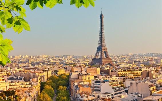 Wallpaper Eiffel tower, Paris, France, city, trees, green leaves