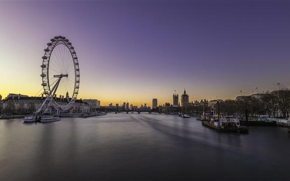 Wallpaper Embankment, London, England, dusk, river, bridge, ferris wheel