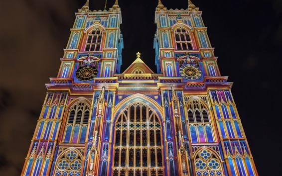 Papéis de Parede Inglaterra, Londres, Westminster Abbey, colorida, noite