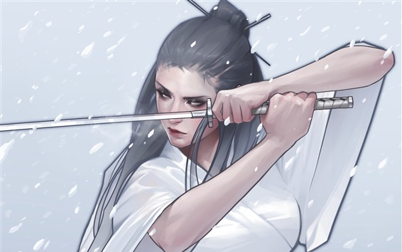 Fondos de pantalla Chica de fantasía, kimono, katana, dibujo de arte
