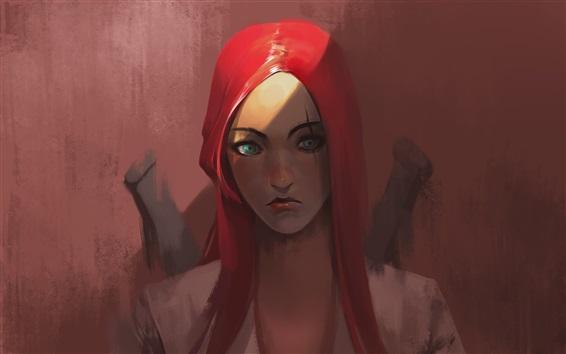 壁紙 ファンタジー赤毛の女の子、青い目