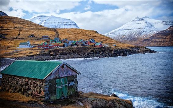 Papéis de Parede Ilhas Faroé, Dinamarca, casas, cores, montanhas, mar