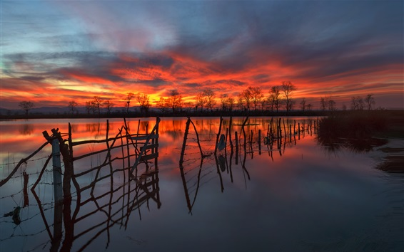 Wallpaper Fence, trees, lake, red sky, clouds, sunset