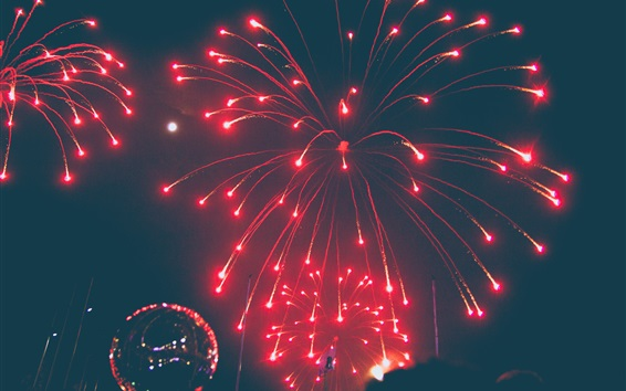 Wallpaper Fireworks, night, red, festival