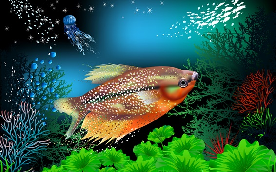 Wallpaper Fish, corals, underwater, vector picture