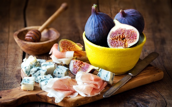 Wallpaper Food, figs, bacon, cheese