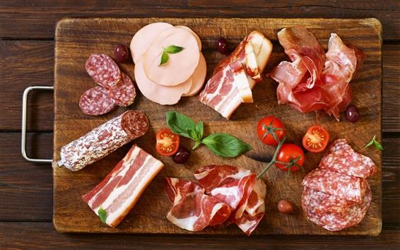배경 화면 음식, 소시지, 베이컨, 고기, 토마토, 올리브, 나무 판자