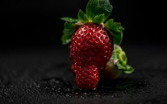 Обои Свежая красная клубника, плод крупный план