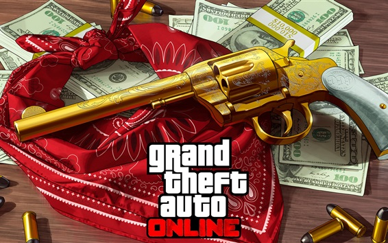 Wallpaper GTA online, gun, money