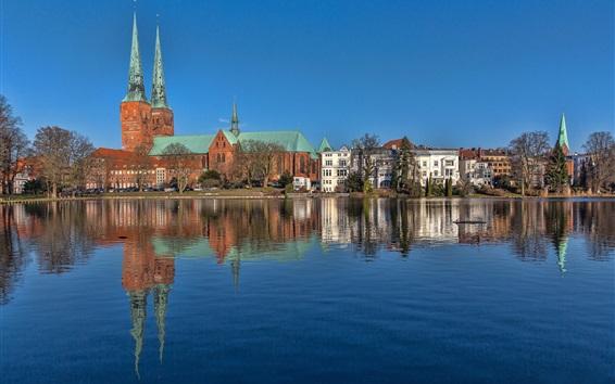 Обои Германия, Любек, Шлезвиг-Гольштейн, река, дома
