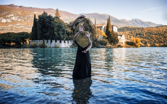 Wallpaper Girl stand in lake water, mirror, hands, creative