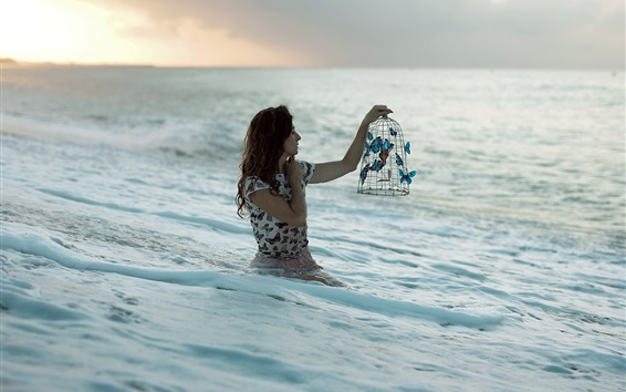 Wallpaper Girl stand in sea, butterfly