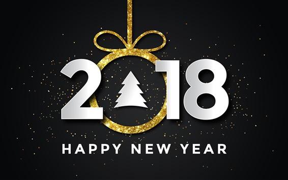 Wallpaper Happy New Year 2018, Christmas tree, stars