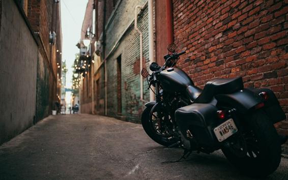 Wallpaper Harley Davidson black motorcycle back view, path