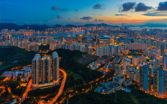 Wallpaper Hong Kong, skyscrapers, lights, city night, top view