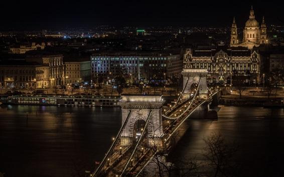Fond d'écran Hongrie, Budapest, Pont des chaînes, nuit, ville, rivière, illumination