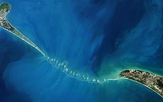 Wallpaper India, Sri Lanka, Adam Bridge, islands, sea, top view, NASA