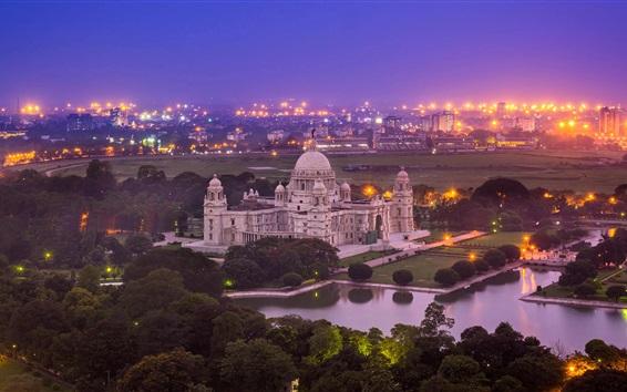 Wallpaper India, Victoria Memorial, Kolkata, West Bengal, night, city, lights