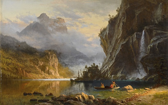 Wallpaper Indians Spear Fishing, Albert Bierstadt, art painting