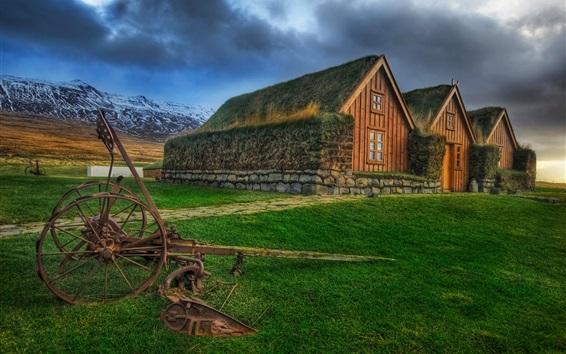 Papéis de Parede Irlanda, islandês, casas, grama, estilo HDR