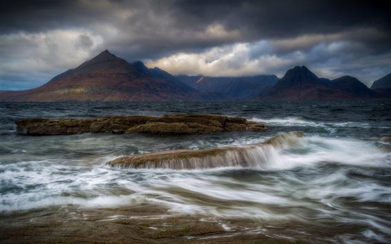 Обои Остров Скай, Эльгол, Шотландия, горы, облака, море, вода