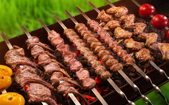 Fondos de pantalla Kebab, carne, parrilla