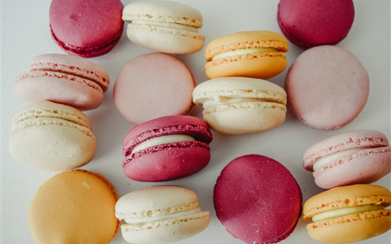 Wallpaper Macaroons, almond biscuits, food, colors