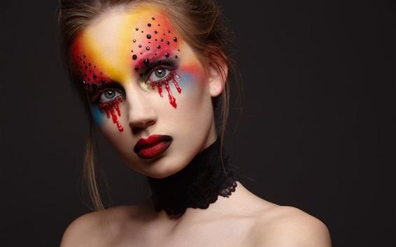 Обои Макияж, девушка, слезы крови, красные губы