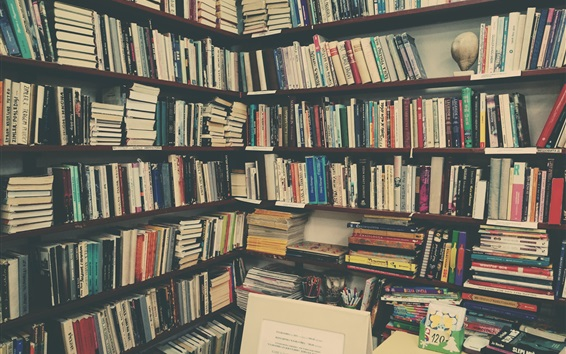 Wallpaper Many books, library