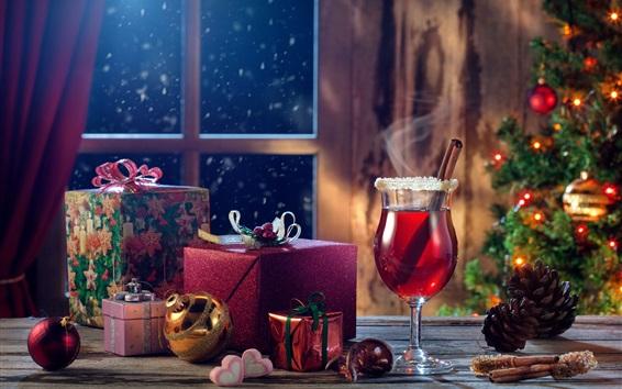 Wallpaper Merry Christmas, gifts, wine, balls, window