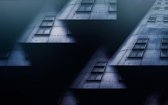壁紙 メタルハウス、窓、コラージュ、クリエイティブ