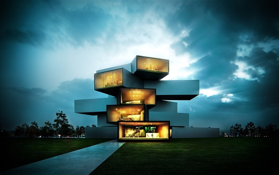 Wallpaper Modern house, creative design