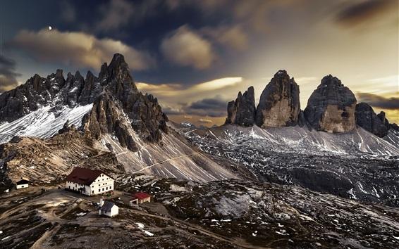 Wallpaper Mountains, houses, dusk